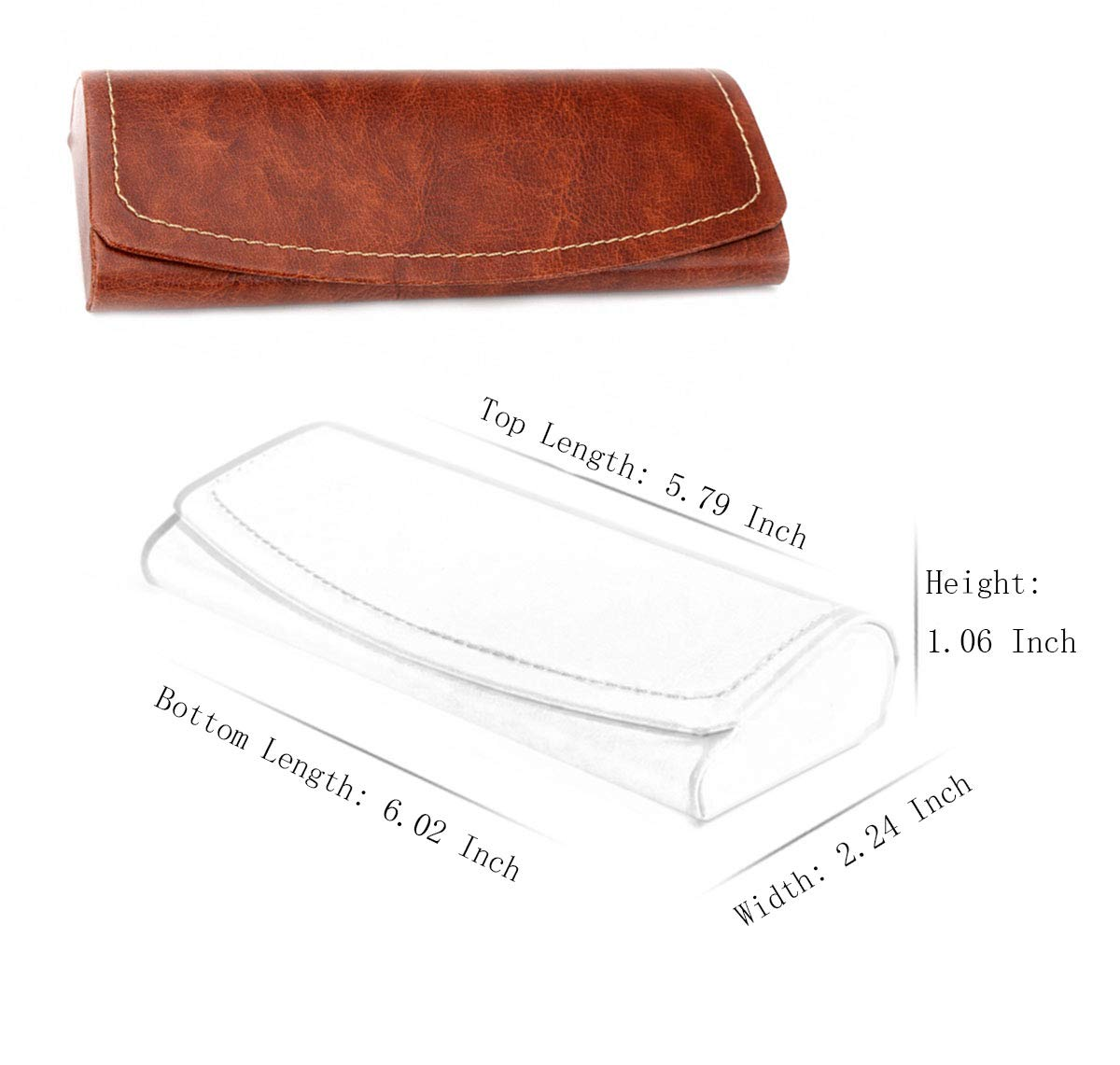 PU Leather Hard Shell Eyeglass Case Portable Sunglasses Glasses Holder Pouch (Brown) by Bauson (Image #7)