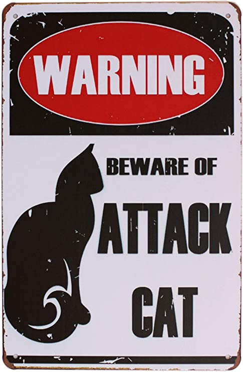 WARNING BEWARE OF ATTACK CAT METAL SIGN 8x12 TIN ALUMINUM
