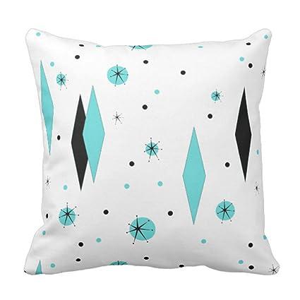 Amazon Emvency Throw Pillow Cover Retro Turquoise Diamonds Fascinating Starburst Decorative Pillow