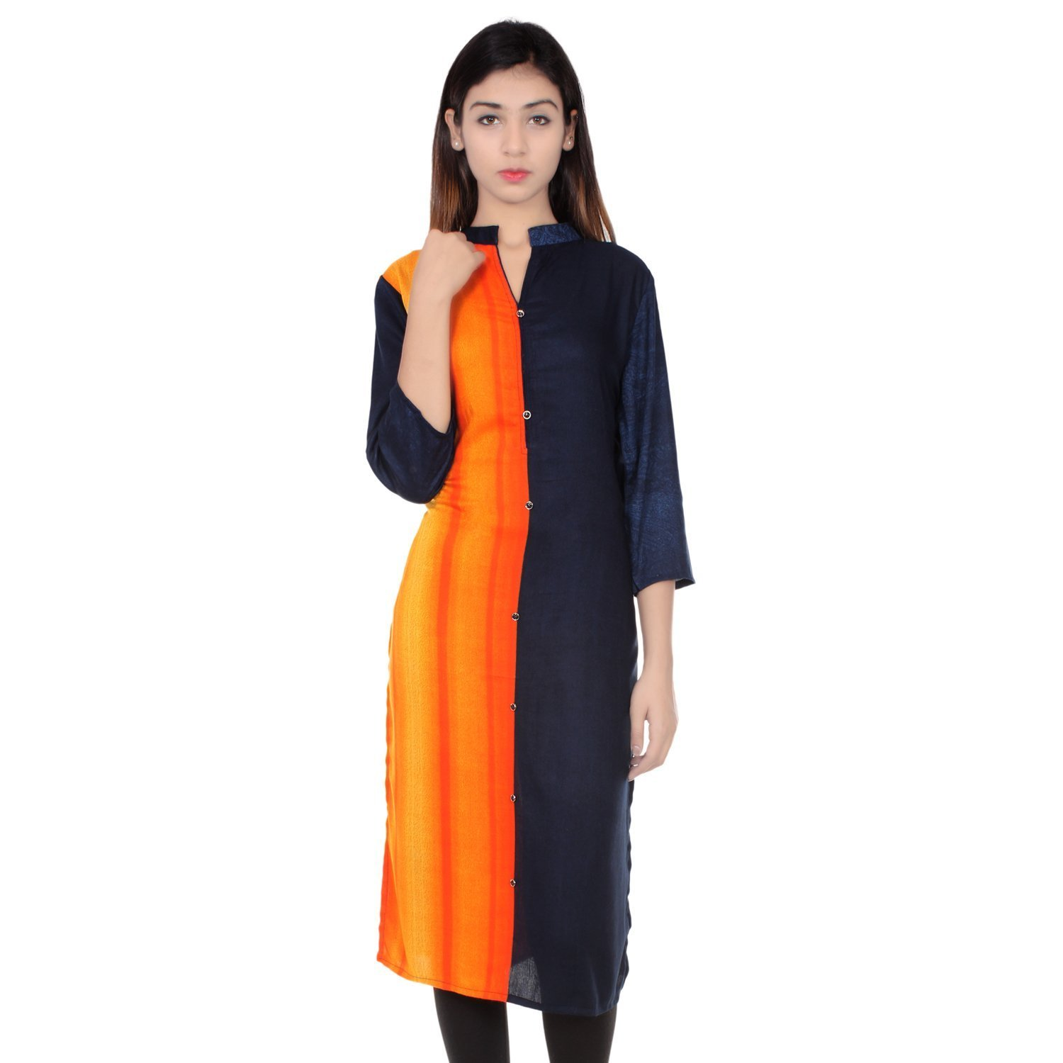 Chichi Indian Women Kurta Kurti 3/4 Sleeve Small Size Plain with Parted Black and Yellow Color Straight Black-Yellow Top