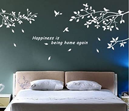 BestGrew® Trees Branches Birds White Wall Art Sticker Removable ...
