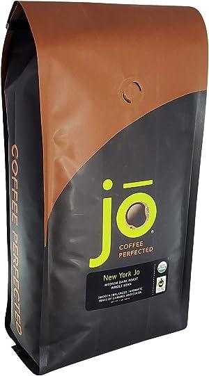 NEW YORK JO: 2 lb, Medium Dark Roast, Whole Bean Coffee, 100% Arabica Beans, USDA Certified Organic, NON-GMO, Signature House Blend, Gluten Free, Gourmet Coffee from Jo Coffee