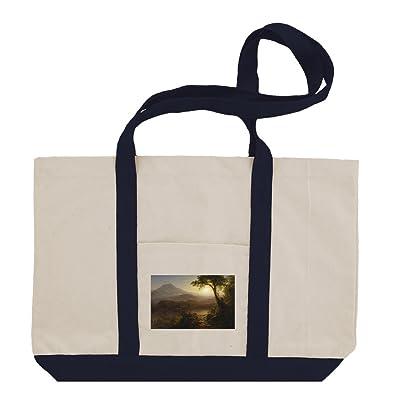 bd0079e5a3 free shipping Tropical Scenery (Church) Cotton Canvas Boat Tote Bag Tote