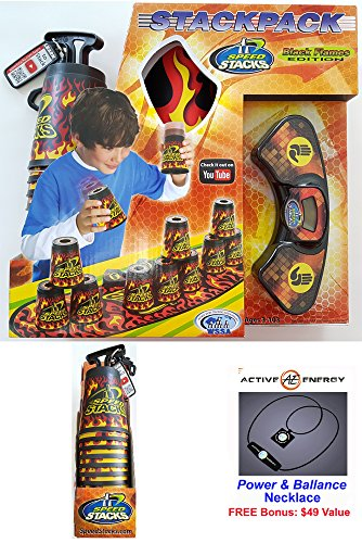 Collectors Cup Set (Speedstack BLACK FLAMES 2017 Limited Edition Set of 12 Plastic Stacking Competition Cups with Black Flames Mat and Timer by Speed Stacks + Tops + Active Energy Power Balance Necklace $49 Value)