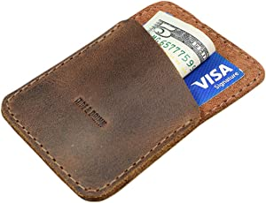 Hide & Drink, Leather Minimalist Card Holder, Holds Up to 4 Cards, Travel Organizer, Accessories, Handmade Includes 101 Year Warranty :: Bourbon Brown