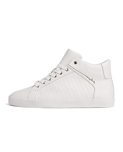 f6ed37f2ce Zara Men's White high-top Sneakers with Gold Eyelets 2108/302 ...