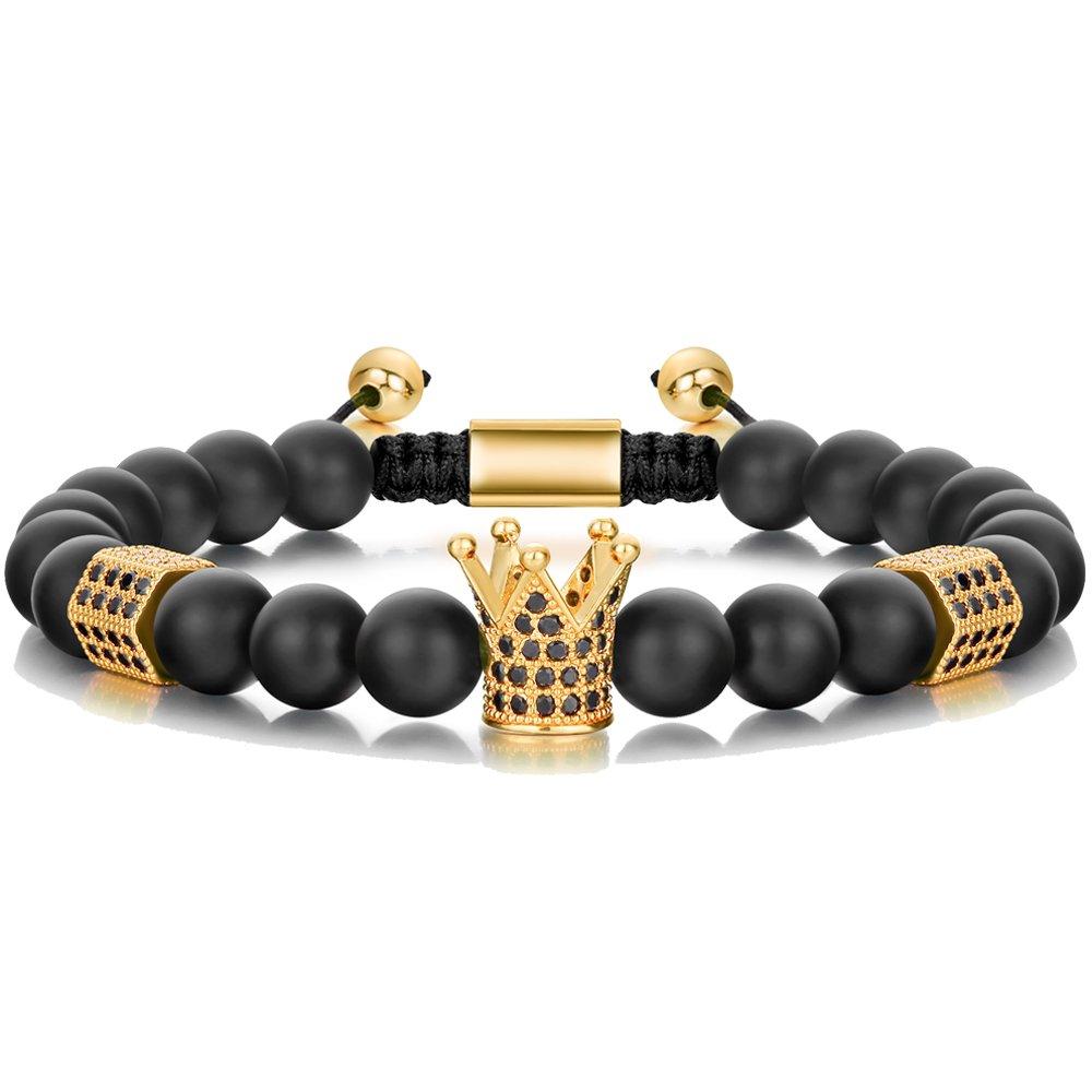 SEVENSTONE 8mm Crown King Charm Bracelet for Men Women Black Matte Onyx Stone Beads, 7.5'' (Gold)