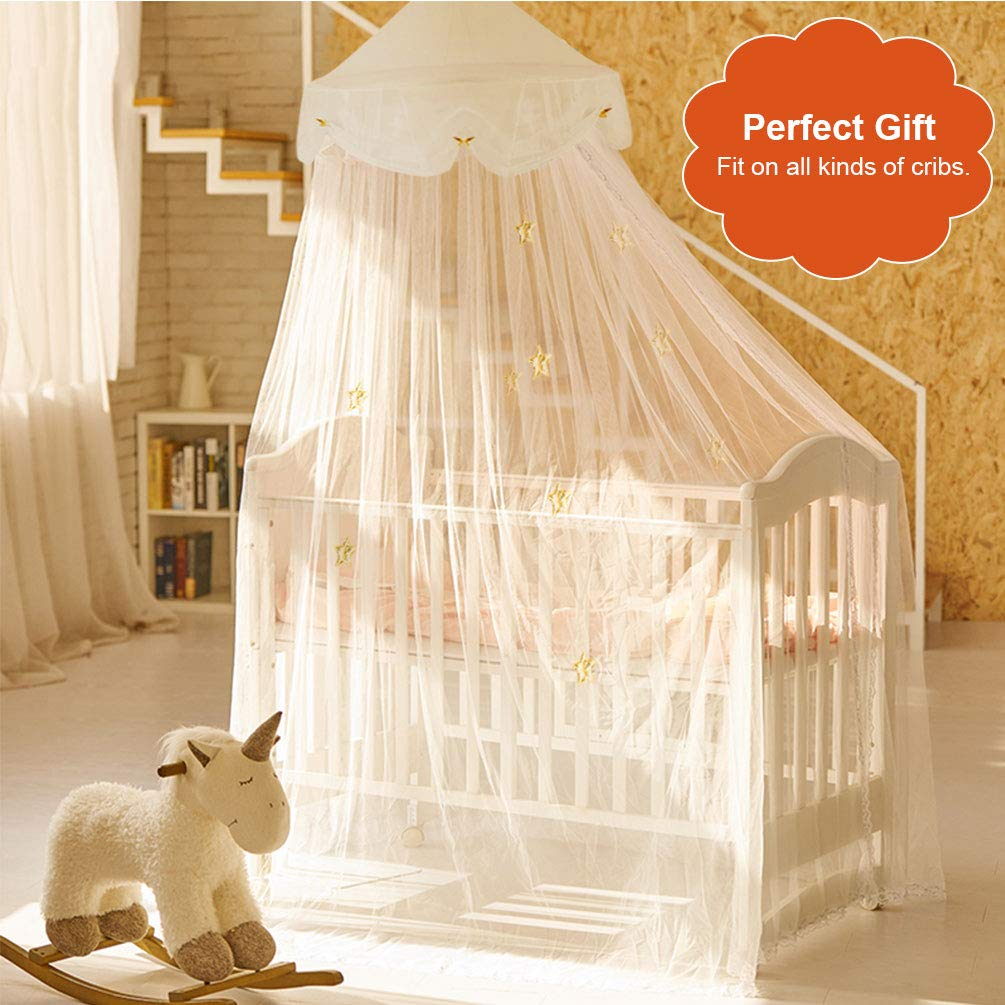 Uarter Boho Princess Mosquito Net, Bed Canopy Girls/Boys Mosquito Net Bed Conical Curtains Kids Play Tent with Stars or Luminous Butterflies for Kids, Installation-Free, Blue/White (White-1) by Uarter (Image #4)