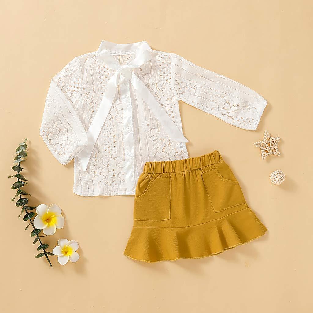 Yaohxu Kleinkind Baby Kinder M/ädchen 2 ST/ÜCKE Kleidung Outfits Herz Solide Langarm Spitze T-Shirt Tops Floral Tr/ägerrock Mit R/üschen Overall Outfit Set