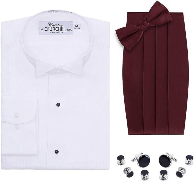 Camisa de Esmoquin con Punta de ala Blanca para Hombre ...