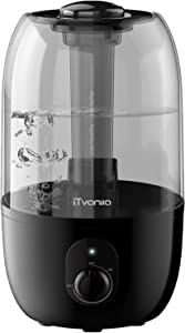 iTvanila Humidifiers, Cool Mist Humidifier for Large Bedroom Baby, Maternal and Baby Safety, 2.7 L/0.7 Gal Lasts Up to 28 Hours, Whisper-Quiet, Space-Saving, Waterless Auto Shut Off Protection (C1A)
