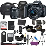 Canon EOS Rebel SL2 DSLR Camera with EF-S 18-55mm f/3.5-5.6 IS II Lens, EF 75-300mm f/4-5.6 III Lens, W/32 GB Sandisk Memory Card, 50 Inch tripod, and Deluxe Holiday Bundle