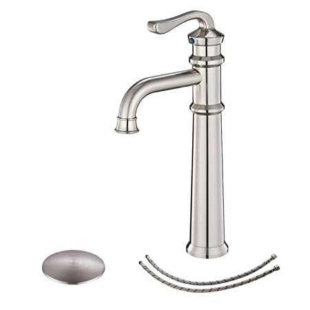 BWE Commercial Brushed Nickel Finish Waterfall Single Handle One Hole Bathroom Vessel Sink Faucet Deck Mount