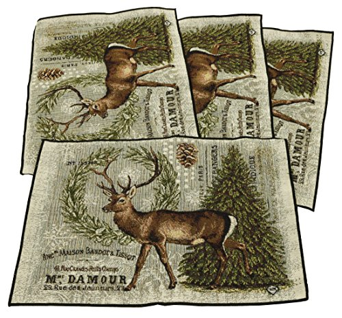 Woodland Heather (HomTex Weaving Winter Woodland and Deer 12x17 Tapestry Jacquard Placemats Set of 4)