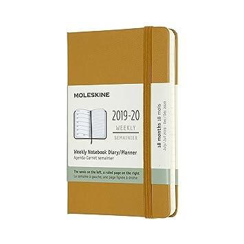 Moleskine - Agenda semanal de 18 meses, académica 2019/2020 con tapa dura y goma elástica, color amarillo ocre, tamaño pequeño 13 x 21 cm, 208 páginas
