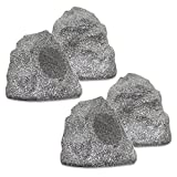 Theater Solutions 4R4G New Wired Outdoor Garden Waterproof Granite Rock Patio Speakers (set of 4)
