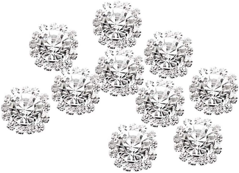 rongweiwang 10pcs de la aleaci/ón del Rhinestone de la Base Botones Shine Adorno Botones Botones de la Ropa DIY Cristal de Flores Ropa de Bricolaje Accesorios