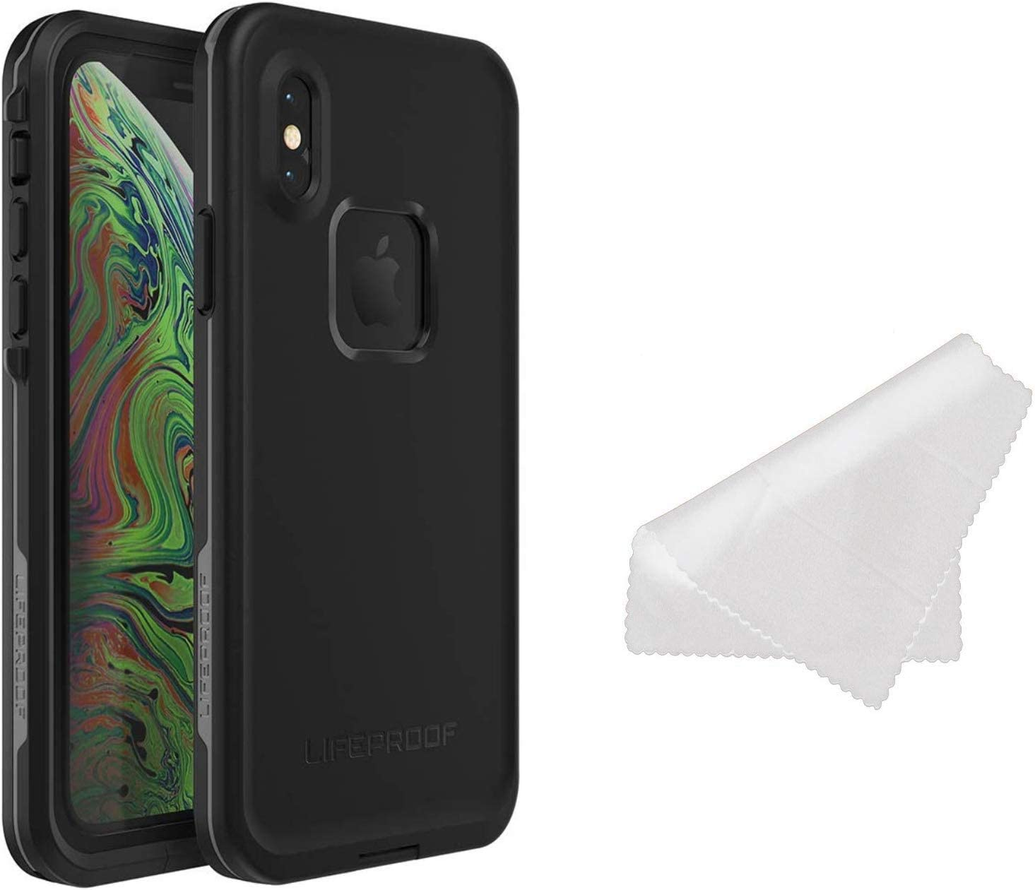 Lifeproof FRE Series Waterproof Case for iPhone Xs (ONLY) with Cleaning Cloth - Retail Packaging - Asphalt (Black/Dark Grey)