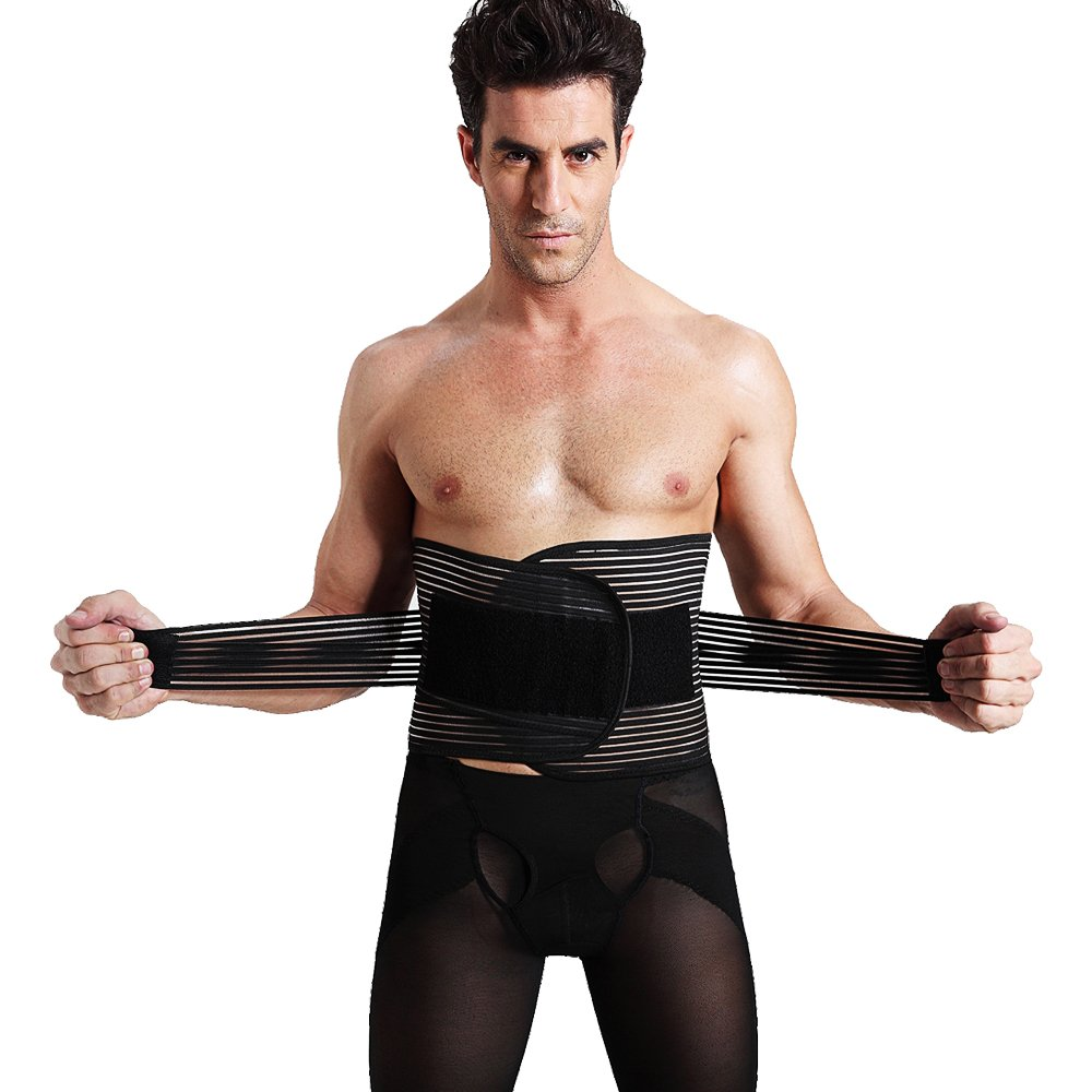 Laweisi Men's Waist Trimmer Girdle Trainer Sweat Workout Beer Belly Back Lumbar Support XX-Large Black