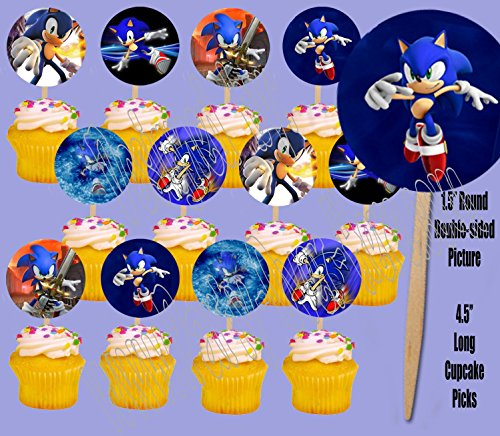 Party Over Here Sonic the Hedgehog Video Game Double-sided Images Cupcake Picks Cake Topper -12 by Party Over Here
