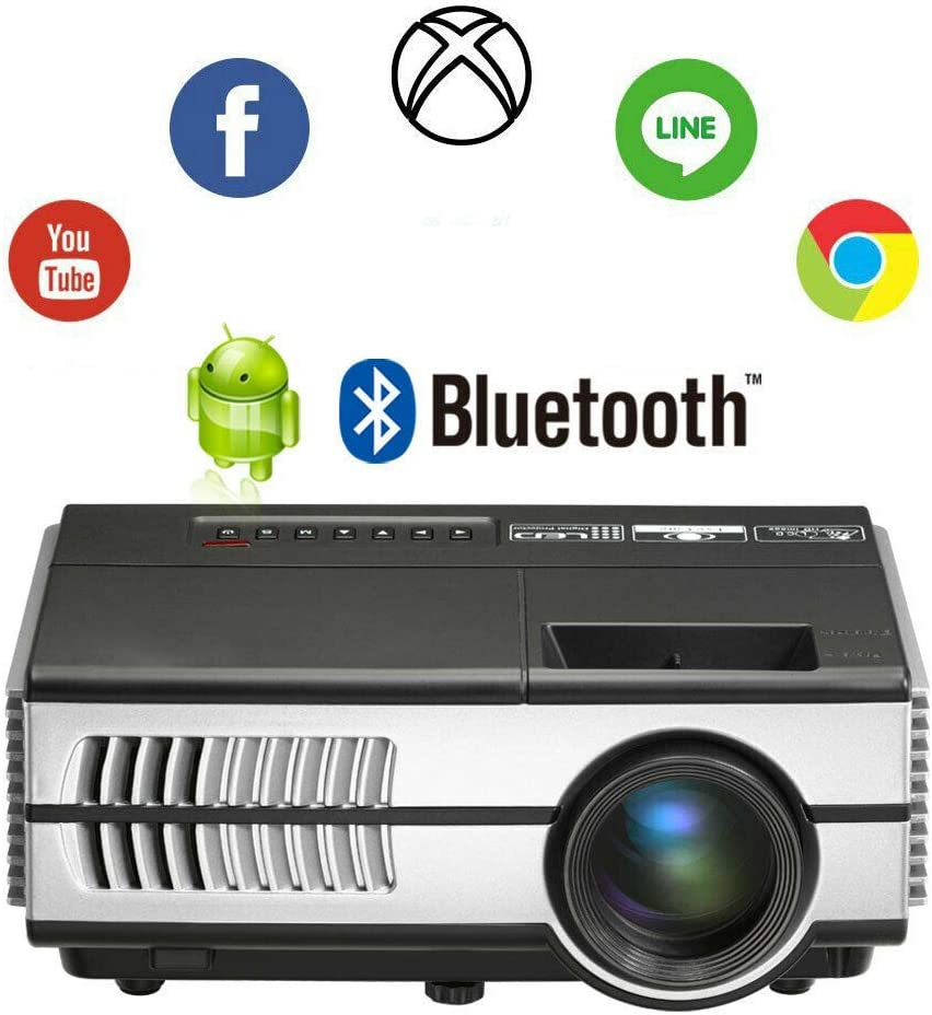 AI LIFE Mini proyector LCD inalámbrico con Bluetooth WiFi HD Smart TV Video Projecteur Soporte 720P 1080P Proyector de Cine en casa LED de 4000 lúmenes con HDMI USB VGA Audio Altavoz