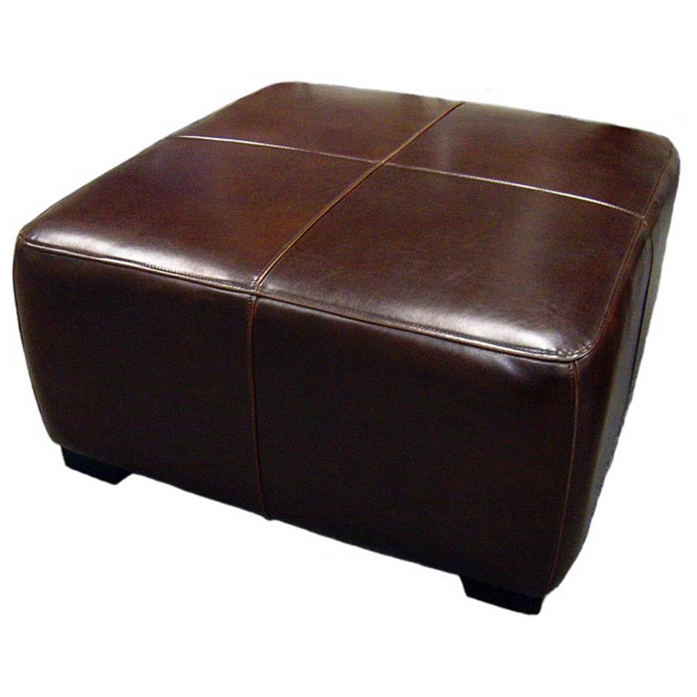 Amazon.com: Baxton Studio Full Leather Square Cocktail Ottoman, Dark Brown:  Kitchen U0026 Dining