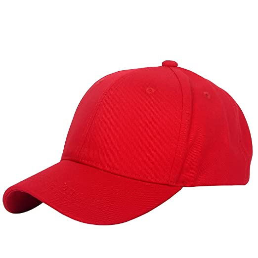 Structured Cotton Baseball Cap With Adjustable Strap back Red Plain ... 761d97296220