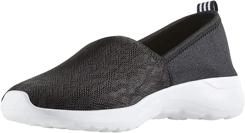 adidas Women's Cloudfoam Lite Racer Slip On (Black/White, 7)