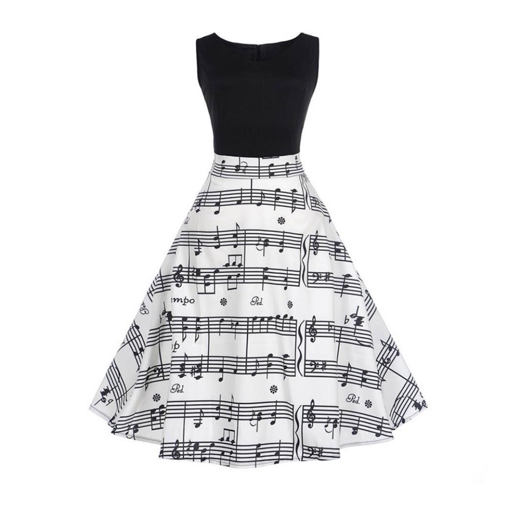 Fanteecy Womens Vintage Classy 1950s Rockabilly Boatneck Sleeveless Fit and Flare Printing Bodycon Tea Dress Swing Dress