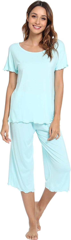 NEIWAI Short Sleeve Pajamas Bamboo Sleepwear Capri Pants Pj Set for Women S-4X
