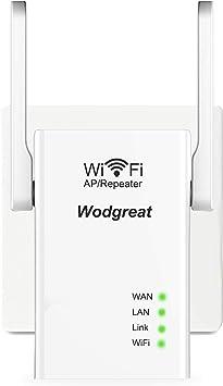 Amplificador Señal WiFi, Wodgreat Repetidor WiFi Repetidor de Señal WiFi 300Mbps / 2.4 GHz WiFi Booster WiFi Amplificador, 3 Modos, 2 Antena Externa, ...
