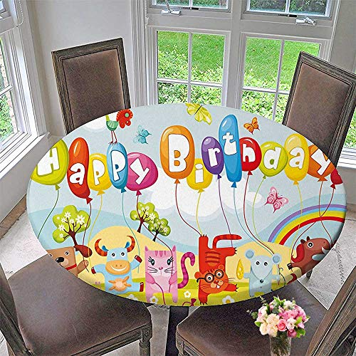 Mikihome Round Tablecloths Life s Balloons Rainbow Clouds Village Theme Party or Everyday Dinner, Parties 40