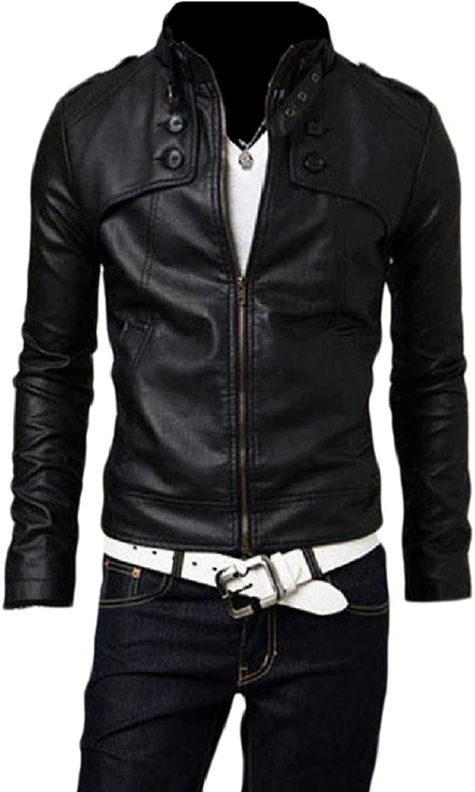 Nicelly Mens Solid PU Leather Button Down with Pocket Fashion Bomber Jacket