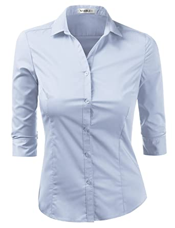 28ff877c6dc Doublju Womens Slim Fit Basic Solid 3 4 Sleeve Button Down Shirt Aqua X-