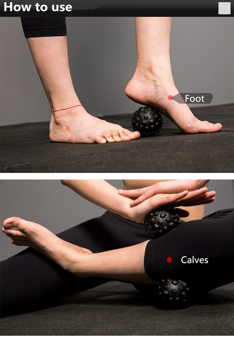 DDMARK 2Pcs Black 3D Trigger Point Massage Roller Ball Muscle/Stress Myofascial Release Fitness Recovery Balls - 7cm