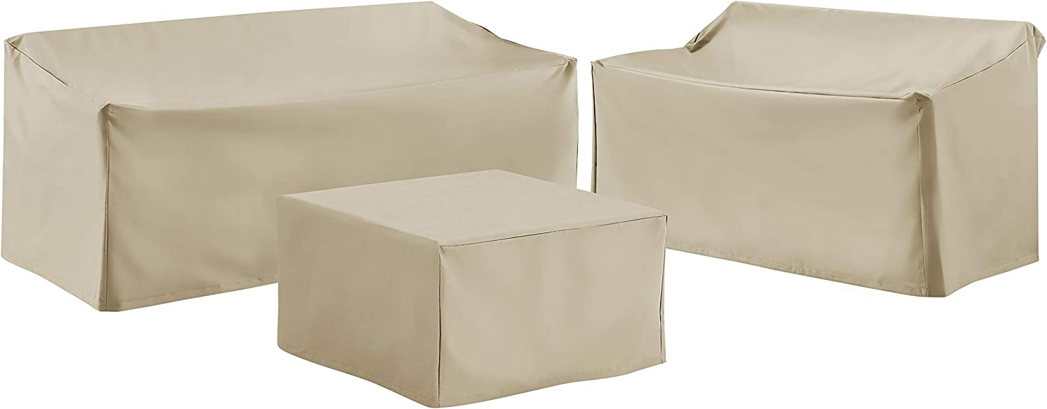 Crosley Furniture MO75010-TA Heavy-Gauge Reinforced Vinyl 3-Piece Furniture Cover Set (Loveseat, Sofa, Square Table/Ottoman), Tan