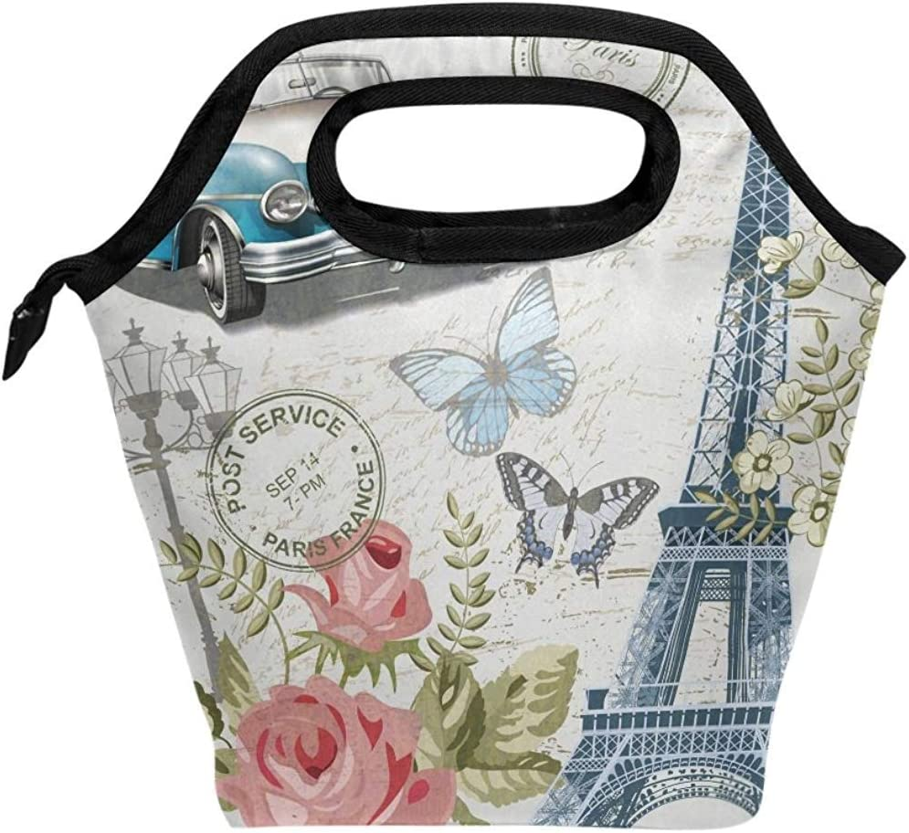 Bolsa Porta Alimentos,Torre Eiffel De París Flora Mariposa ...