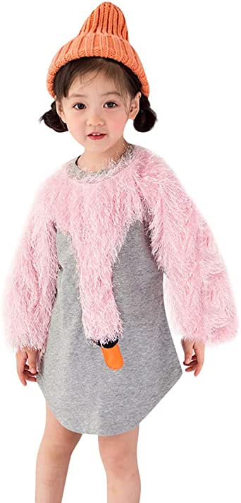 Stylish Fluffy Splice Long Sleeve Sweatshirt Pullover Baby Girls Patchwork Cartoon Swan Tops 0-4T