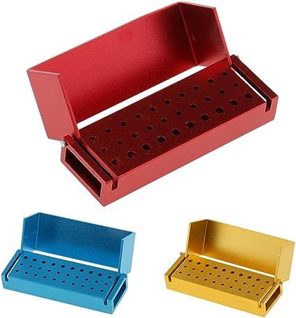 Magideal 3pcs – Caja de almacenaje (Bur fresa dental 20 agujeros de alta velocidad de 10 agujeros baja velocidad esterilizador de 3 pulgadas): Amazon.es: Belleza