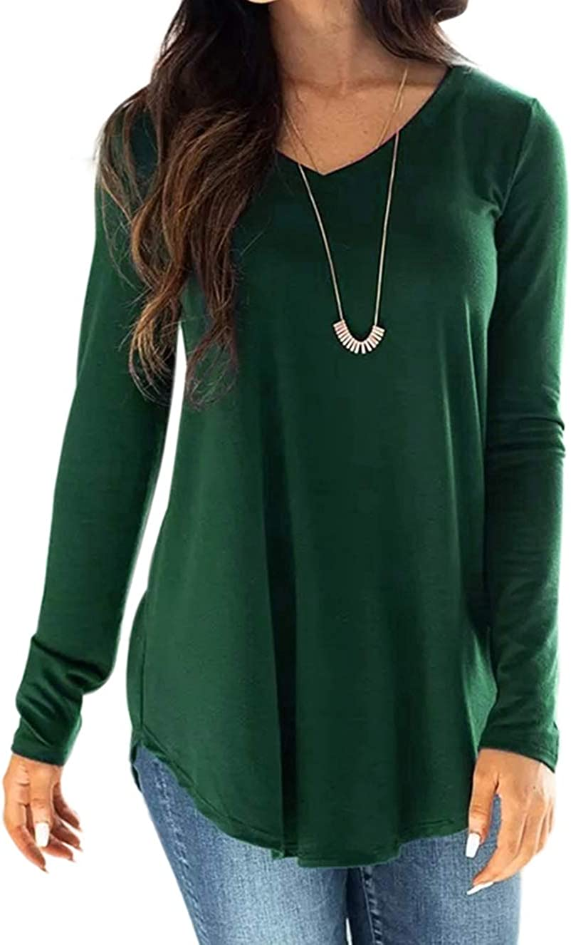 HTHJSCO Womens Basic Tunic Tops Long Sleeve V-Neck Shirts Loose Casual Tee T-Shirt Blouses with Pocket