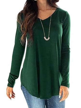 29eb389803a3 Wenseny Womens T Shirts Long Sleeve V Neck Loose Tops Casual Swing Tunics  Plain Blouses Basic