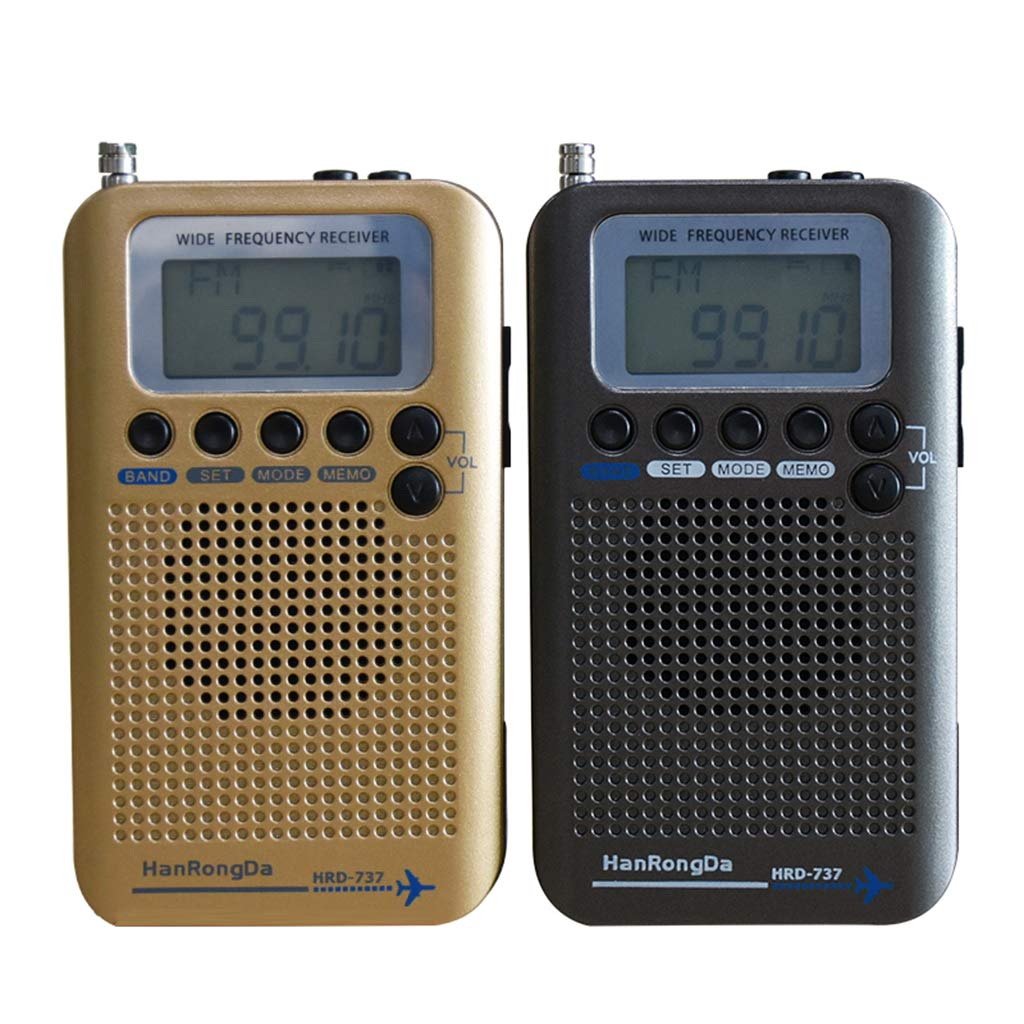 Gazechimp Portable Full Band Radio Aircraft Band Receiver FM//AM//SW//CB//Air//VHF World Band with LCD Display Alarm Clock for Indoor and Outdoor Black