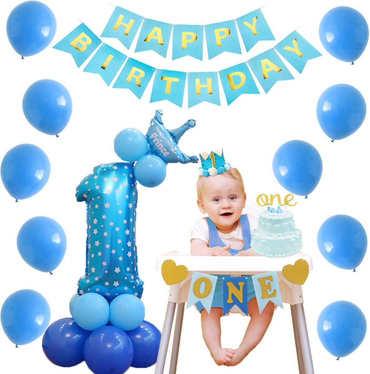 Kreatwow D/écorations de f/ête danniversaire Bleu et Or pour b/éb/és gar/çons 1er Anniversaire Couronne Anniversaire Chapeau Chapeau Paillettes confettis Ballons Ensemble