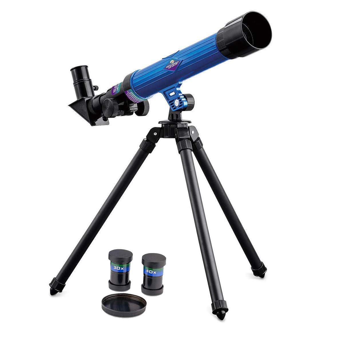 GLOW Telescope for Kids – Blue Mini Tripod Science Learning Sky Space Stars Moon Planet Exploration Toy Gift with Up to 40x Magnification, Lens and Eyepiece Covers, Focus and Viewing Angle Adjuster GLOW Wholesale