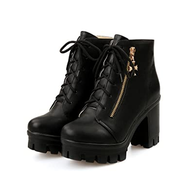 Women's High-Heels Round Closed Toe Pu Low-Top Lace-Up Solid Boots Black-Bandage 41