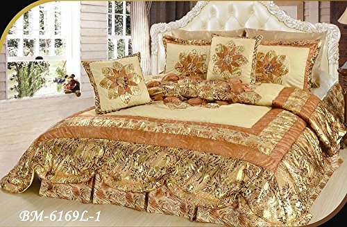 DaDa Bedding Elegant Romantic Floral Botanic Puffy Patchwork Comforter Bedspread Set - Shiny Metallic Bordered Ruffles Gold Bronze Brown Print - Queen - 5-Pieces
