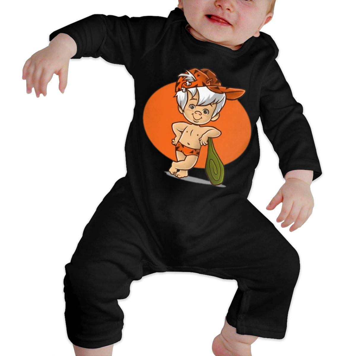 SININIDR Newborn Jumpsuit Infant Baby Girls Flintstones Bam Long-Sleeve Bodysuit Playsuit Outfits Clothes Black