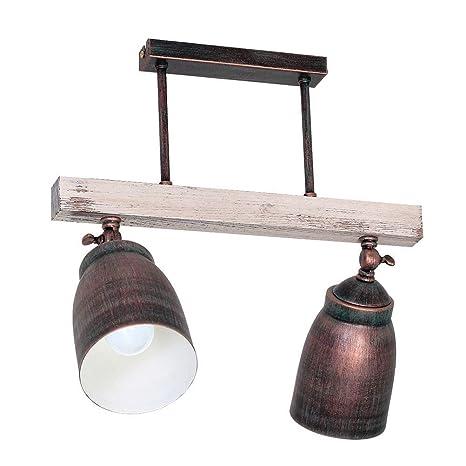 Lámpara de Techo Alejo- Dos Quemadores | Lámpara de Techo en Estilo Rústico | Luz 2xE27 230V | Lámpara Incluye Bombillas
