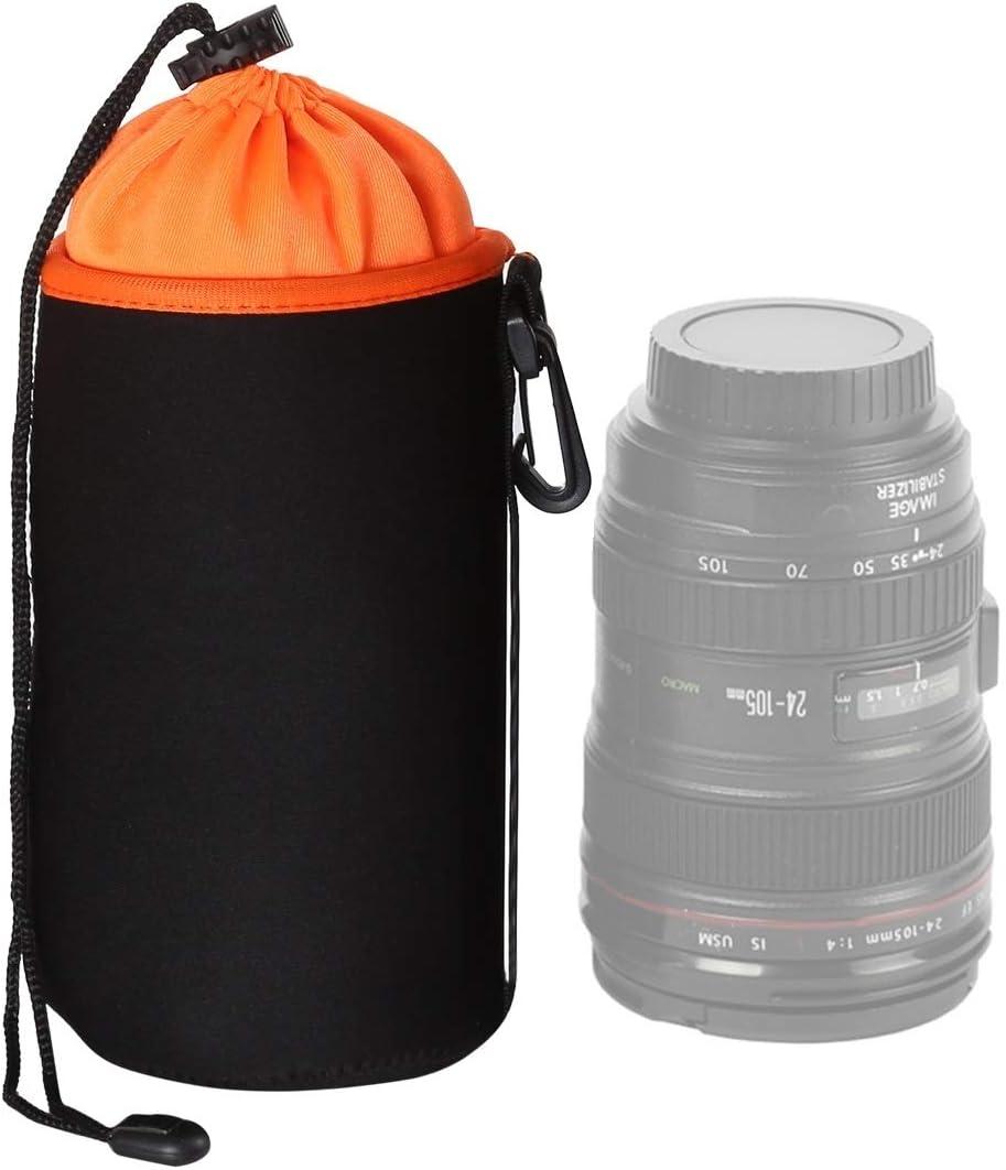 Diameter: 10cm ZL-U Thick Protective SLR Camera Lens Bag Micro Single Lens Bag Lens Inner Bile Bag Waterproof Protective Case Plus Velvet Thickening Color : Orange Height: 18cm Orange