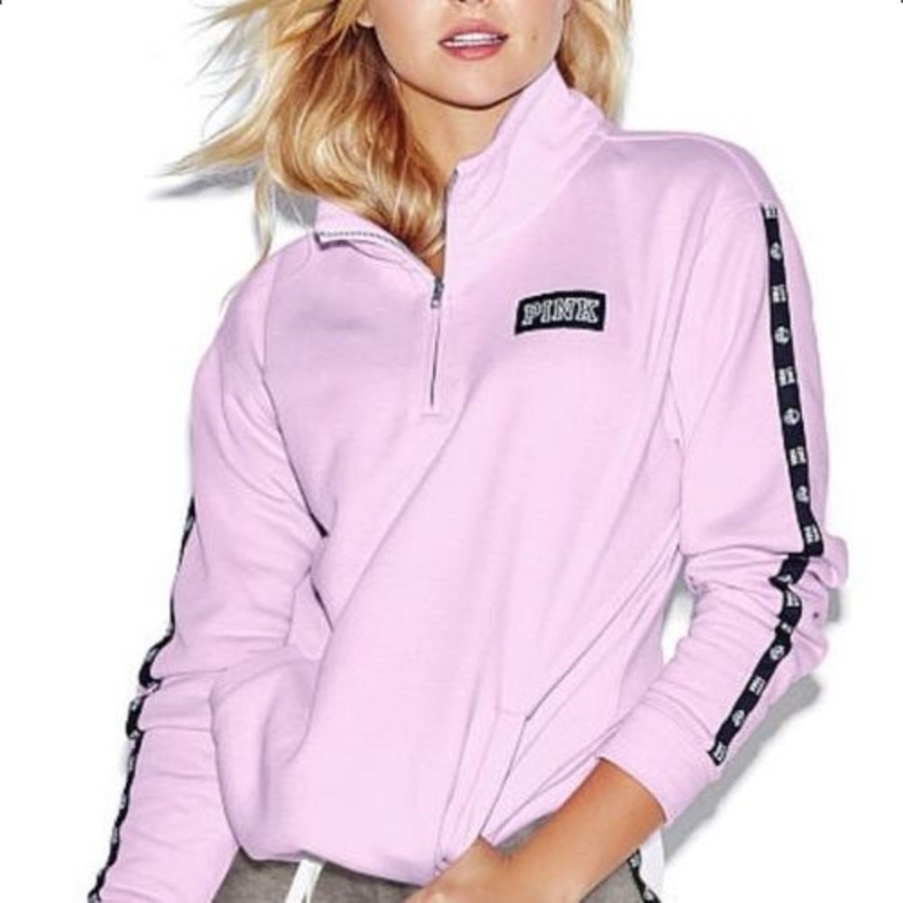 8b252a8c227c97 Amazon.com: Victoria's Secret PINK Half Zip Pullover Sweatshirt Logo Trim  Lilac: Clothing